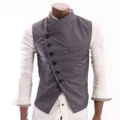 Shop Mens Stunning Design Slim Vest BLACK Free delivery and returns on eligible orders. Indian Men Fashion, African Fashion, Men's Fashion, Fashion Outfits, Fashion Design, Mens Fashion Blazer, Style Steampunk, Steampunk Clothing, Steampunk Fashion