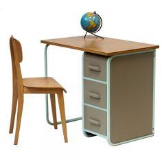 bureau vintage des annes 50 en bois et mtal Meubles et