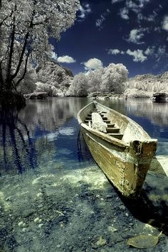 Landscape photography. Old wooden boat, water, reflection, trees, beauty of Nature, aged, cracks, peaceful, silence, photo