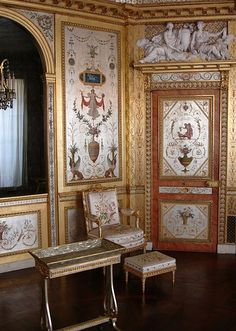 Boudoir of Marie Antoinette at Fontainebleau. The decor was inspired by the…