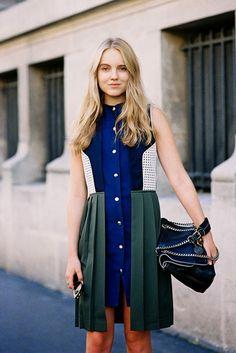 Estilo de rua, vestido, plissado, recortes, jeans.                                                                                                                                                                                 Mais