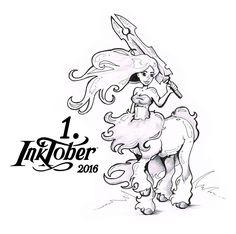 1. Inktober 2016 - Centaur Zentaur, Sword, Illustration, Comic, Horse