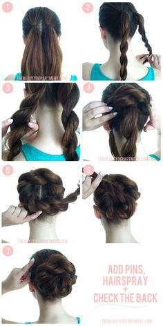 Create 2 ponytails and make both into a rope braid (jus two strands of hair twisted around each other). Tie them at the end and loosen the braids a little. Take braid from your back right and lay it down going counter-clockwise using bobby pins to secure it. Take the other braid coiling it into the center and secure it with bobby pins. There you have it :) Enjoy.