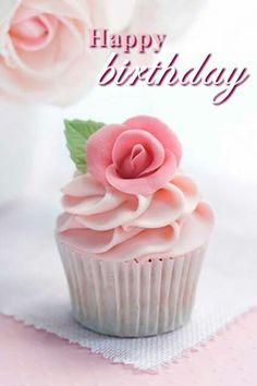 Happy Birthday cupcake pink