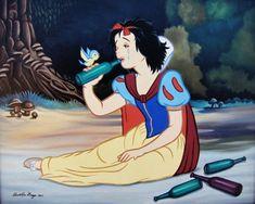 Jose Rodolfo Loaiza - Drunk Snow White – Disenchanted – Disney Disney Characters Losing Their Innocence Animated Disney Characters, Disney Face Characters, Drunk Disney, Disney Memes, Disney Facts, Disney Princess Snow White, Psy Art, Twisted Disney, Mexican Artists