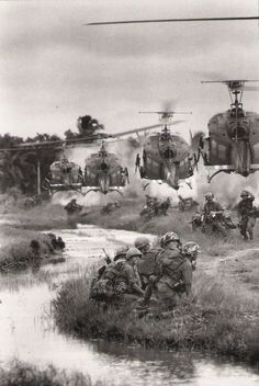 U.S. helicopters drop-off reinforcements in the Mekong Delta (Photo Credit: AP)