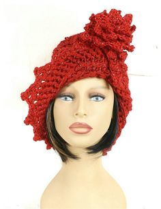 Crochet Hat Womens Hat Trendy Womens Crochet Hat Crochet Flower in Red Sparkle Red Hat LAUREN 1920s Cloche Hat  with Flower by strawberrycouture by #strawberrycouture on #Etsy
