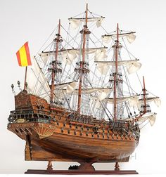 San Felipe Exclusive Edition Tall Ship Model Handmade wooden plank on frame construction ship model. Model Sailing Ships, Old Sailing Ships, Scale Model Ships, Scale Models, Spanish Armada, Wooden Ship, Tall Ships, Battleship, Boat