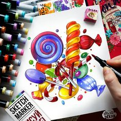 9/52 #1page1week А мне @derfederschreiber японских сладостей привезла)  Сразу рисовать карамельки захотелось)  @sketchmarkersclub от @art_markers :)