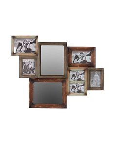 Wall Collage with Mirrors and Photoframes - are both attractive and handy. This elegant item features five photo frames and two mirrors that offer a perfect contrast to each other. The photo frames are suitable for storing photos and memories while the two mirrors are just what you need to admire your reflection in. The wooden photo frame cum mirror comes in a lovely brown shade that will add texture and uniqueness to your home.