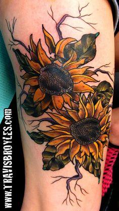 sunflower Tattoo by: Travis Broyles at Sunken Ship Tattoo, Everett WA. (Gorgeous)