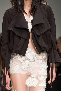 Transparency - sheer applique dress & draped jacket; fashion details // Blumarine Spring 2016