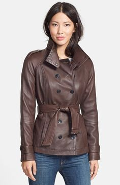 Free shipping and returns on 7 For All Mankind® Belted Short Leather Trench at Nordstrom.com. A double-breasted trench coat, rich in classic details but cut to a modern hip length, boasts supple grained leather shaped for a slim, fitted silhouette. A tall stand collar elongates the profile.