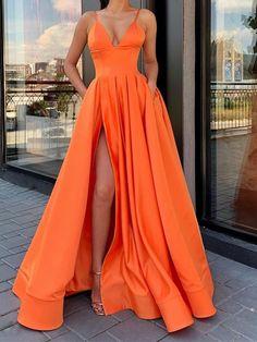 A Line V Neck Blue / Orange / Pink Long Prom Dress with Leg Slit V Neck High Slit Vestidos de festa Dresses Prom Dresses Long Pink, Prom Dresses With Pockets, Straps Prom Dresses, V Neck Prom Dresses, Gala Dresses, Event Dresses, Formal Evening Dresses, Pretty Dresses, Beautiful Dresses