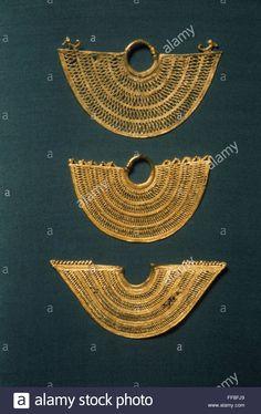 PRE-COLUMBIAN ART. /nGold ear or nose pendants. Antioquia, Colombia. Stock Photo
