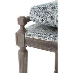 Rene French Country Blue Grey Batik Oak 67 Inch Dining Bench