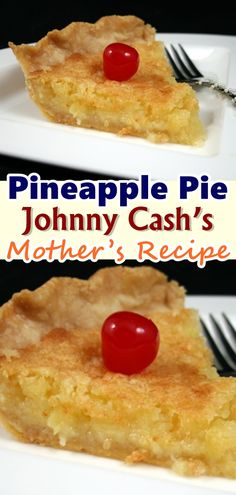 Pineapple Pie – (Johnny Cash's Mother's Recipe) This recipe of the Pineapple Pie is something that could be put together in no time. Talk about baking with less fuss and not too many ingredients, and there it is. All you need are a few ingredients that ma Köstliche Desserts, Healthy Desserts, Delicious Desserts, Yummy Food, Johnny Cash, Sweet Recipes, Cake Recipes, Waffle Recipes, Snacks Recipes