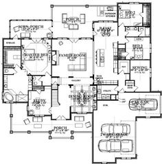 Craftsman Style House Plan - 5 Beds 3 Baths 4425 Sq/Ft Plan #63-392 Floor Plan - Main Floor Plan - Houseplans.com