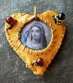leather virgin mary heart by SainteMarieDuParadis on Etsy