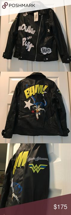 "Zara "" Wonder Woman"" Leather Jacket Brand New, from storage boxes. No odors. Never worn, living in a hot climate so no need for it although I absolutely love it..!! Size Medium, (large fit). Genuine Leather, with screen print and embroidered patch detail. 🌟SOLD OUT EVERYWHERE.🌟 Zara Jackets & Coats"