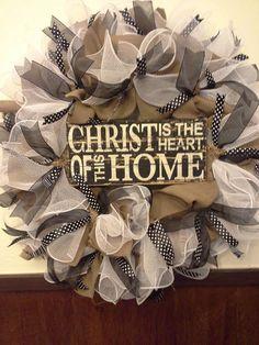 Burlap white deco mesh wreath christ