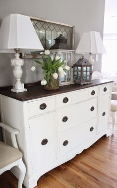 dresser decor and White: Makeover Round Up: Our House Six Months Later Refurbished Furniture, Repurposed Furniture, Shabby Chic Furniture, Painted Bedroom Furniture, Painting Furniture White, Rustic Furniture, Antique Furniture, Shabby Chic Buffet, White Distressed Furniture