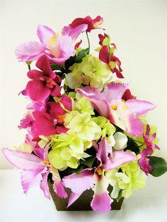 Silk Floral Arrangement Tropical Mixed Pink by SandyNewhartDesigns
