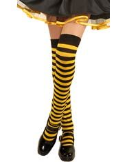 Girls Yellow and Black Striped Over the Knee Socks