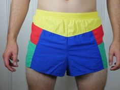 1980s German Vintage Adidas Swim Trunks, Royal Blue Red Yellow Emerald Green Swimsuit, European Swim Shorts: Size 32-34 by YouLookAmazing on Etsy