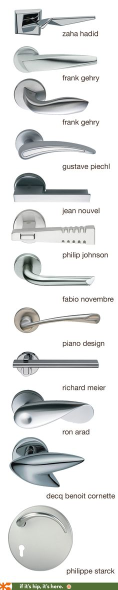 Door levers and handles by famous architects and designers. Olivari - Italy Architecture Details, Interior Architecture, Zaha Hadid Architecture, Zaha Hadid Interior, Arquitetura E Design, Famous Product Designers, Famous Interior Designers, Design Elements, Lever Door Handles