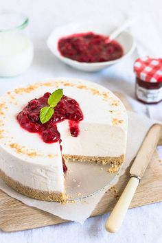 This is my favorite recipe for no-bake cheesecake. It's simple and quick to make and holds its shape well.
