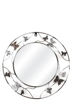 """This mirror has a feminine wrought iron frame with butterfly and floral detail. It is suitable for inside or on the veranda of your home. The diameter is class=""""descTitle"""">Dimensions:</b><BR>Dia"""