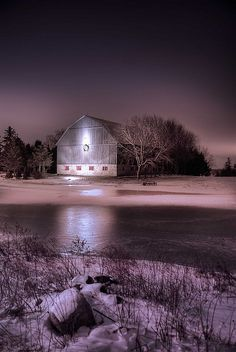 there are two ways to spread light in the world; you can be the flame of the candle or the mirror that reflects it. Farm Life, Rustic Barn, Country Life, Country Barns, Country Living, Old Barns, Country Roads, Winter Night, Winter Snow