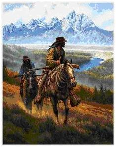 mountain men prints - Location is the Grand Teton Mountains at the bend in the Snake River near Jackson Hole, Wyoming. Teton Mountains, Rocky Mountains, Westerns, Mountain Man, Old West, Hunting Art, West Art, Cowboys And Indians, Cowboy Art
