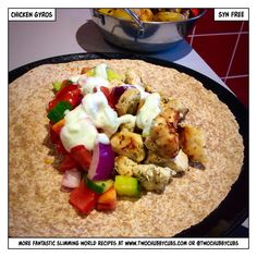 This syn-free 'greek' Slimming World dinner combines chicken gyros with a minty sauce and salad and served alongside chopped speed food roasted in balsamic. Remember, at we post a new Slimming World recipe nearly every day. Our aim is good food, low in sy Slimming World Chicken Dishes, Slimming World Dinners, Slimming World Recipes, Healthy Meals For Two, Healthy Eating Recipes, Cooking Recipes, Healthy Options, Easy Cooking, Healthy Eats