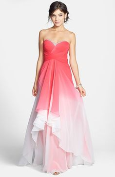 So out of my price range but yay for Ombré.  La Femme Embellished Ombré Tiered Chiffon Gown available at #Nordstrom