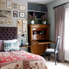 Bridie Hall's collection of Japanese prints hangs in a spare room; the bedcover was purchased on Portobello Road.