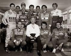 Bernie Ecclestone, Nigel Mansell, Ayrton Senna, Gerhard Berger, Ricardo Patrese, Michael Schumacher, Martin Brundle, Jean Alesi