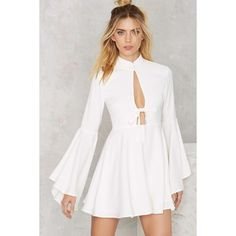 Nasty Gal Fool For You Bell Sleeve Dress (€81) ❤ liked on Polyvore featuring dresses, white, white bell sleeve dress, white special occasion dresses, cut out dress, white cut out dress and holiday dresses