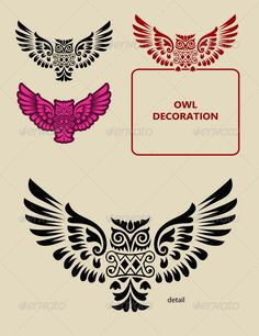 Owl Decoration - Animals Characters Change Symbol, Vector Design, Logo Design, Owl Artwork, Owl Logo, Symbol Logo, Symbolic Tattoos, Vector File, Mandalas