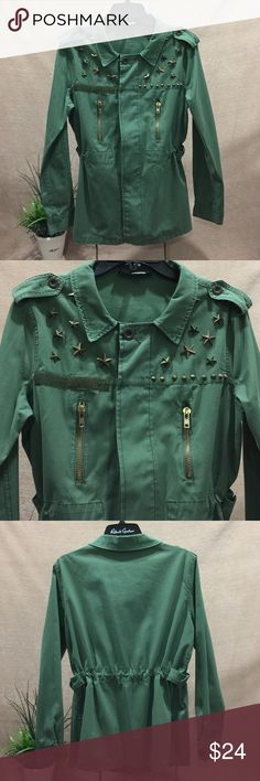 Studded Military Jacket Very Stylish Star Studded Military Jacket coat by English Rose. Waist gathers for a fitted look or stays straight. Army Green color. Size M. 100% Cotton. Well taken care of. Recently dry cleaned.   I offer 30% off 3+ items in my closet. Take a look! English Rose Jackets & Coats