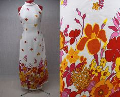 1960's Floral Print Maxi Dress by PatternVintageLondon on Etsy