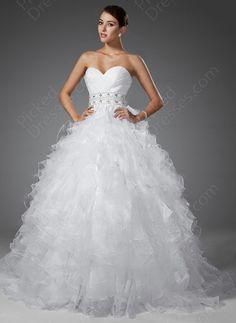 BallGown Sweetheart Organza Satin Sweep Train Tiered Wedding Dress at Pickeddresses.com