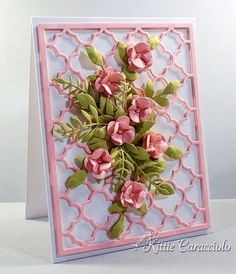 Quatrefoil and Floral Spray card by Kittie Caracciolo Making Greeting Cards, Greeting Cards Handmade, Flower Cards, Paper Flowers, Spellbinders Cards, Handmade Birthday Cards, 70th Birthday Card, Embossed Cards, 3d Cards