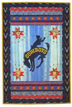 """Cowboys by Cathie Hoover, 24 x 36"""", Association of Pacific West Quilters auction quilt"""