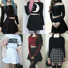 #blue #pink #black #outfit #mode #girl #dark