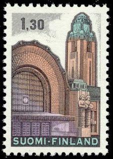 Sobre Filatelia y Ferrocarriles: Estación Central de Helsinki (Finlandia, 1971)