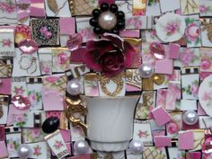 Custom - Antique GLITZY PINKS Mosaic China Tile Set 100 % For Breast Cancer