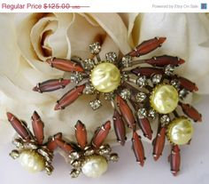On Sale Vintage 1960's Cathe' Sienna Navettes & Baroque Pearls Brooch  Earrings Signed. $106.25, via Etsy.
