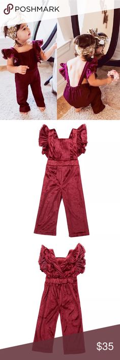 Red Velvet Ruffle Sleeve Jumpsuit Ruffled effect, velour fabric Jumpsuit for toddler. Bottoms Jumpsuits & Rompers